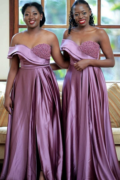 Front Slit Strapless Beading A-line Bridesmaid Dress_2