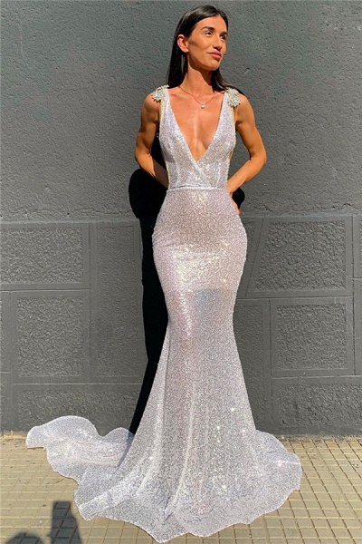 Attractive V-neck Sequined Mermaid Evening Dress_1