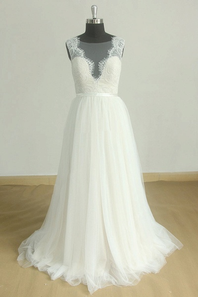 Chic Lace Tulle A-line Floor Length Wedding Dress_4