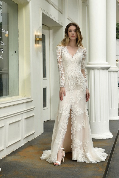 Exquisite V-Neck Long Sleeve Mermaid Wedding Dress_5