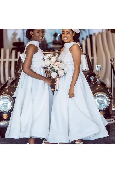 Cute Applqiues Satin A-line Bridesmaid Dress_11