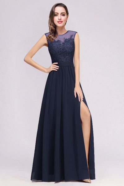Lace Chiffon Floor-Length A-line Bridesmaid Dress_10