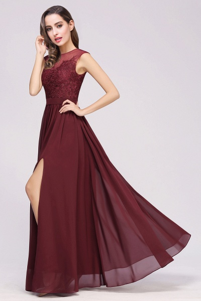 Lace Chiffon Floor-Length A-line Bridesmaid Dress_14