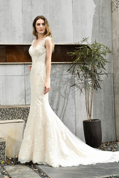 Glamorous Mermaid Satin Lace Open Back Wedding Dress_7