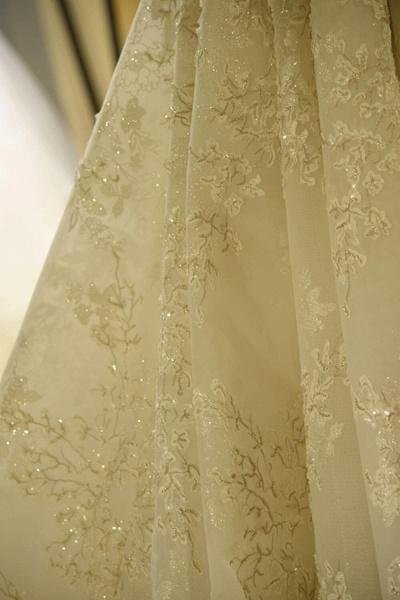 Glorious Short Sleeve Lace Tulle Wedding Dress_6