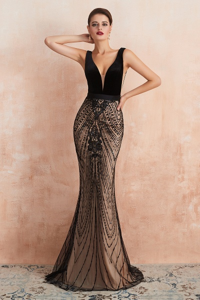Exquisite V-neck Lace Mermaid Prom Dress_6