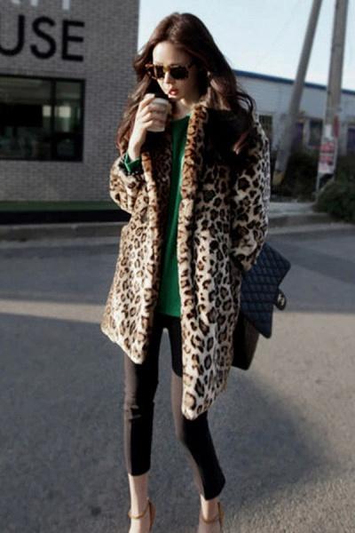Women's Daily Fall & Winter Leopard Faux Fur Coat_1