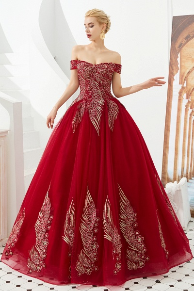 Beautiful Off-the-shoulder Tulle Ball Gown Prom Dress_7