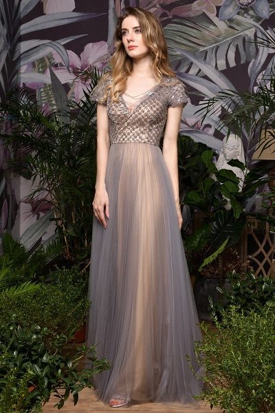 Stunning Short Sleeves Squared Sequined Tulle Prom Dress_6