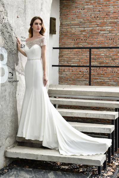 Short Sleeve Lace Mermaid Pearls Wedding Dress With Belt_7