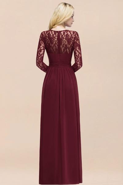 Elegant A-Line Chiffon Jewel Long Sleeves Ruffles Floor-Length Bridesmaid Dresses_52