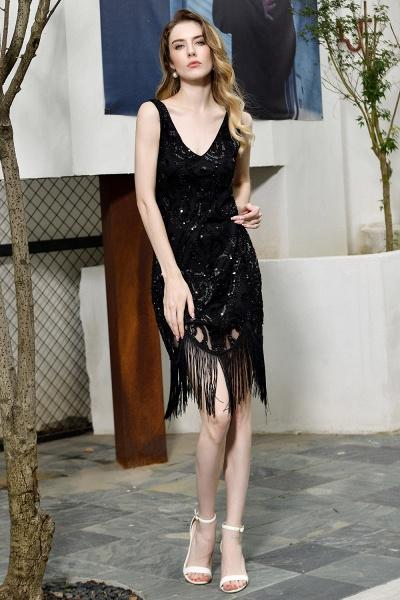 Chic Fringed Sequins V-neck Knee Length Prom Dress_6