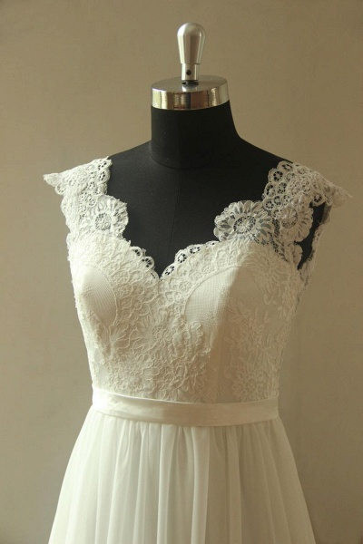 V-neck Lace Chiffon Floor Length Wedding Dress_4