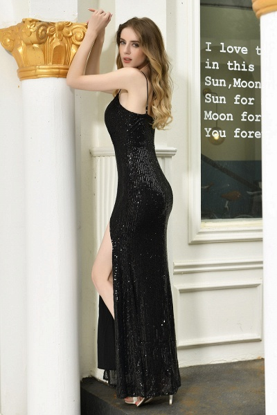 Amazing Spaghetti Strap Split Sequins Prom Dress_11