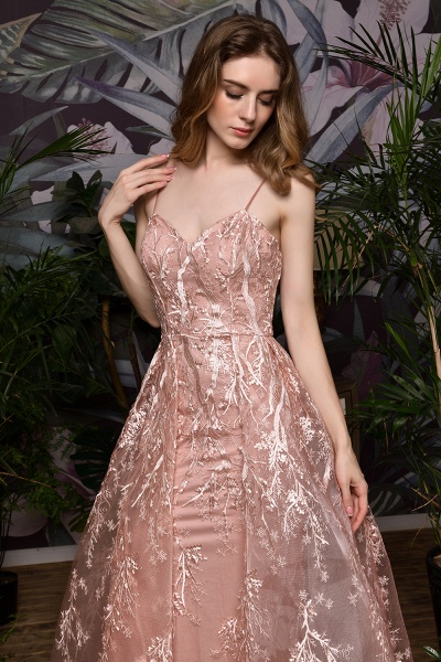 Dusty Pink Spaghetti Strap A-line Lace Prom Dress_6