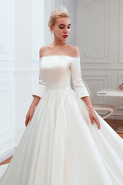 Off Shoulder Lace-up Satin A-line Wedding Dress_11