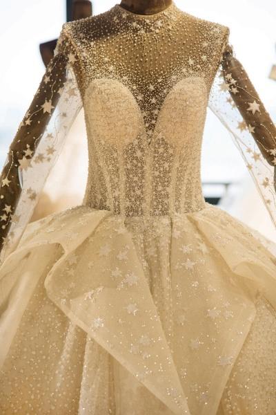 Long Sleeve Beading Lace-up Tulle Wedding Dress_5