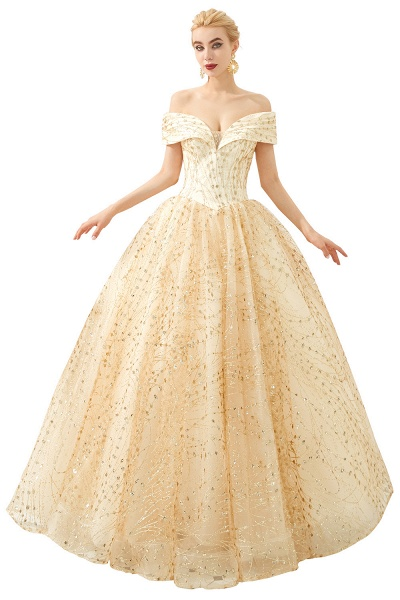 Attractive Off-the-shoulder Tulle Princess Prom Dress_1