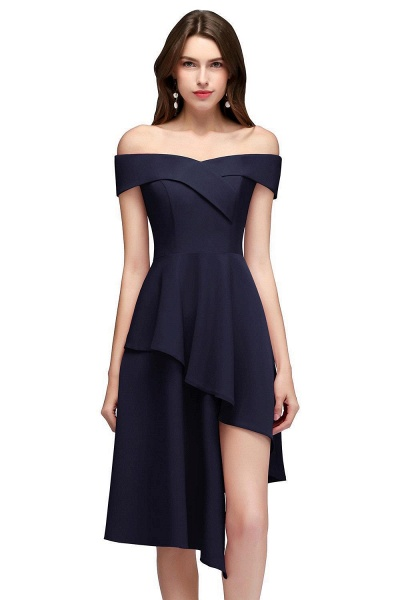 MALLORY   A-line Asymmetrical Short Off-the-shoulder Burgundy Prom Dresses_3