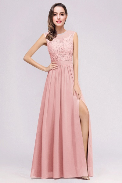 Lace Chiffon Floor-Length A-line Bridesmaid Dress_3