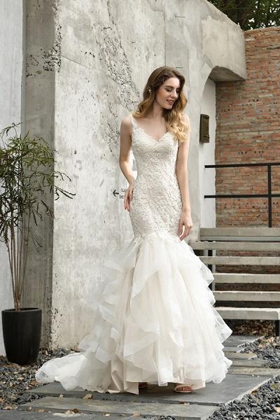 Gorgeous Appliques Mermaid Organza Wedding Dress_8