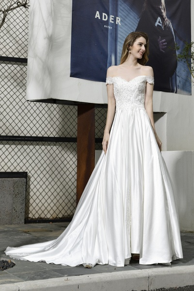 A Line Off the Shoulder Sweetheart Lace Satin Wedding Dress_6