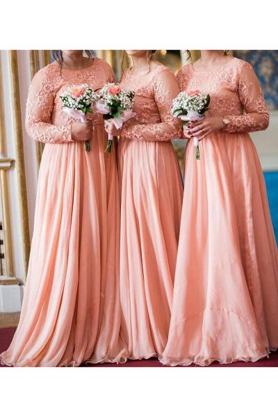 Long Sleeve Lace Chiffon A-line Bridesmaid Dress_2