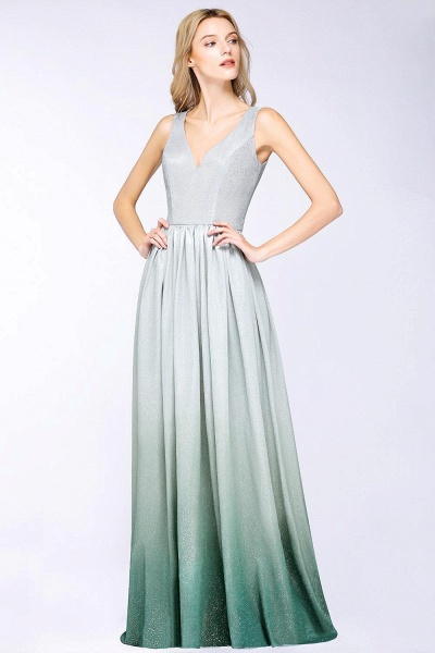 A-line Ruffles V-Neck Long Evening Dress_2