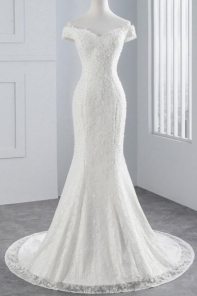 Off Shoulder Lace-up Mermaid Lace Wedding Dress_1