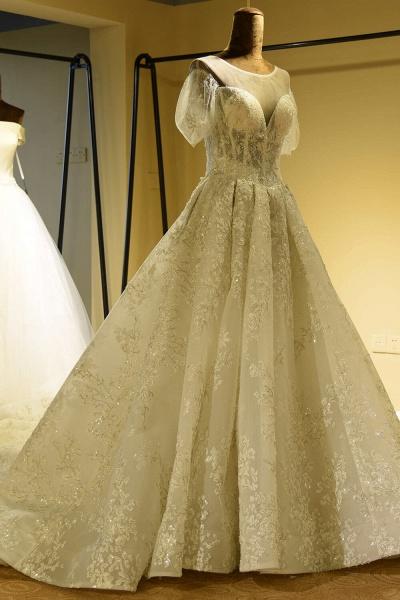 Glorious Short Sleeve Lace Tulle Wedding Dress_3