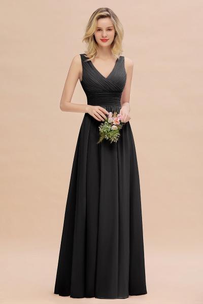 BM0752 Elegant A-line V-Neck Ruffles Long Bridesmaid Dress_29