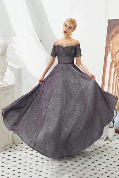Fascinating Jewel Bright silk Princess Prom Dress_7