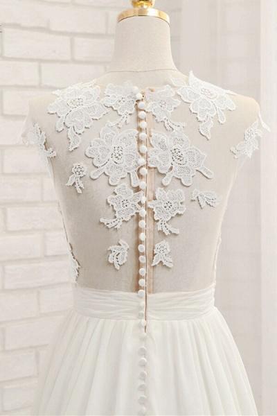 Front Slit Appliques Chiffon A-line Wedding Dress_7