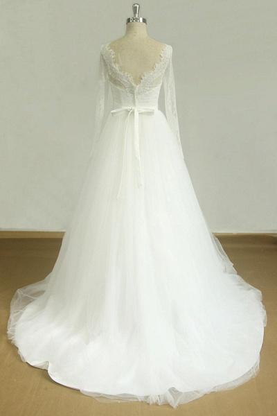 Elegent Long Sleeve V-neck Lace Tulle Wedding Dress_3