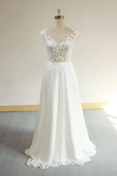 Cap Sleeve Appliques Chiffon A-line Wedding Dress_1