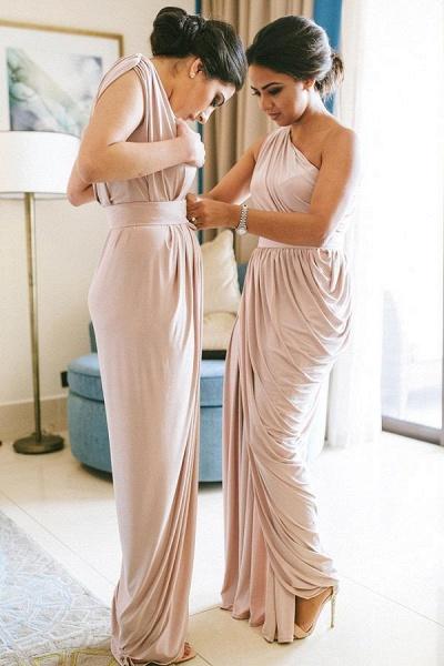 Simple One Shoulder Floor Length Bridesmaid Dress_1