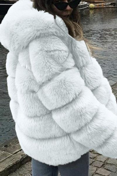 Women's Daily Winter Hooded Faux Fur Coat_1
