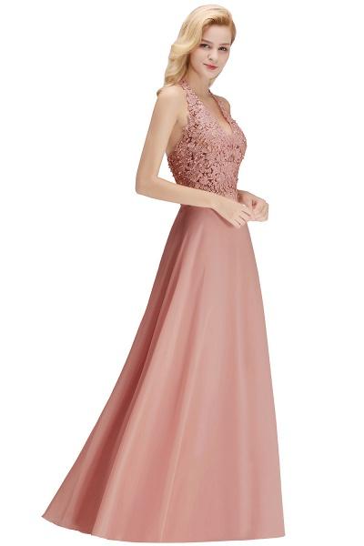 Halter Composite Emulation Silk A-line Floor Length Bridesmaid Dress_26