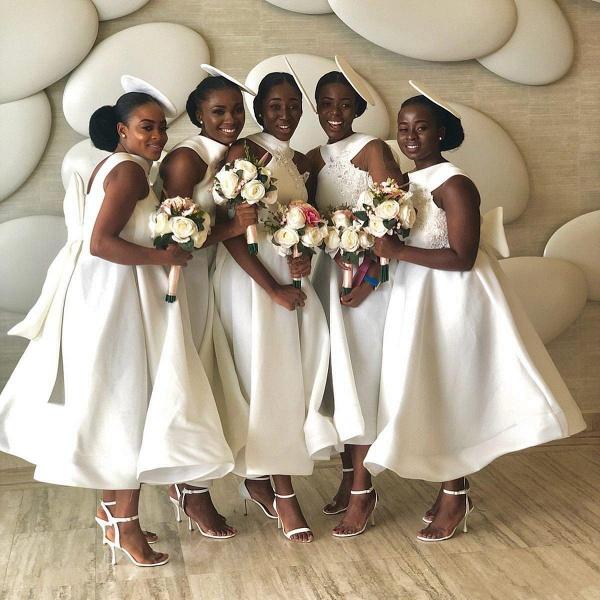Cute Applqiues Satin A-line Bridesmaid Dress_9
