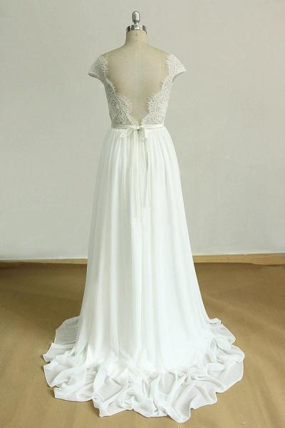 Cap Sleeve Lace Chiffon A-line Wedding Dress_3