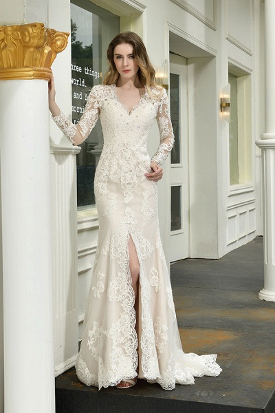 Exquisite V-Neck Long Sleeve Mermaid Wedding Dress