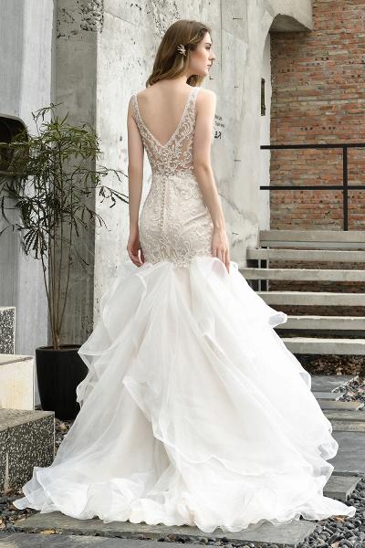 Mermaid V-neck Lace Organza Ruffles Wedding Dress_10