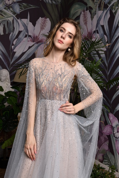 Luxury Shawl Sequined A-line Long Prom Dress_25