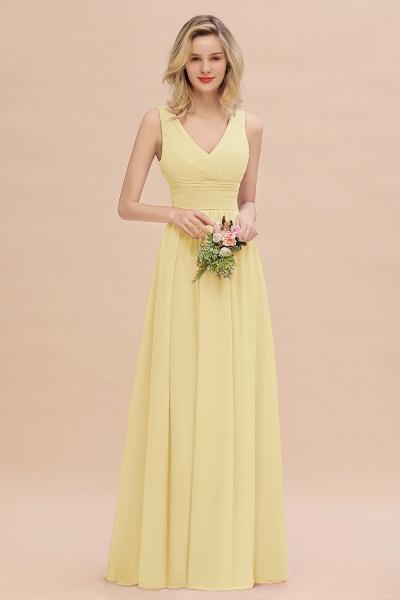 BM0752 Elegant A-line V-Neck Ruffles Long Bridesmaid Dress_18