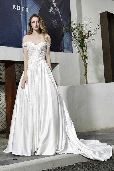 A Line Off the Shoulder Sweetheart Lace Satin Wedding Dress_10