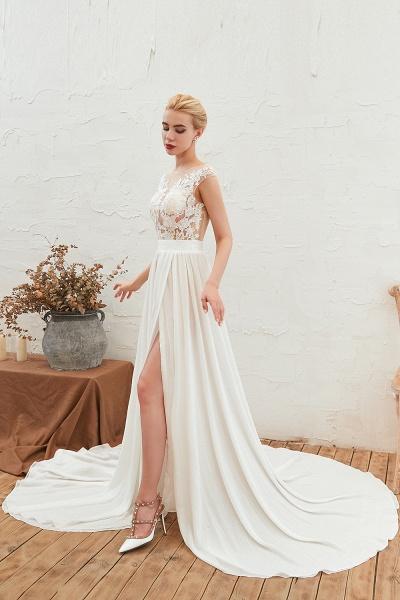 High Slit Appliques Chiffon A-line Wedding Dress_5