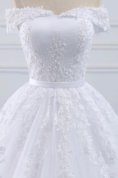 Lace-up Off Shoulder Appliques Tulle Wedding Dress_5