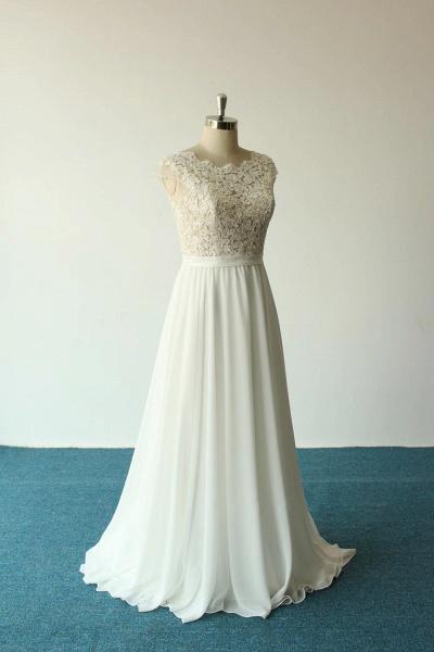 Cap Sleeve Lace Chiffon A-line Wedding Dress_5