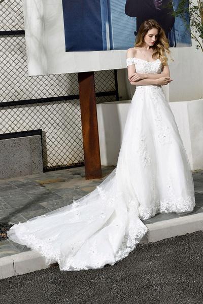 Gorgeous A-Line Lace Off Shoulder Wedding Dress_6