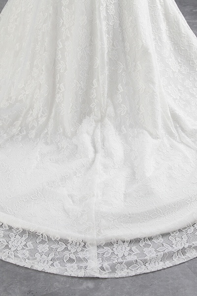 Off Shoulder Lace-up Mermaid Lace Wedding Dress_9